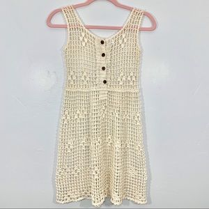 Vintage | Cream Mesh Knit Button Front Boho Dress